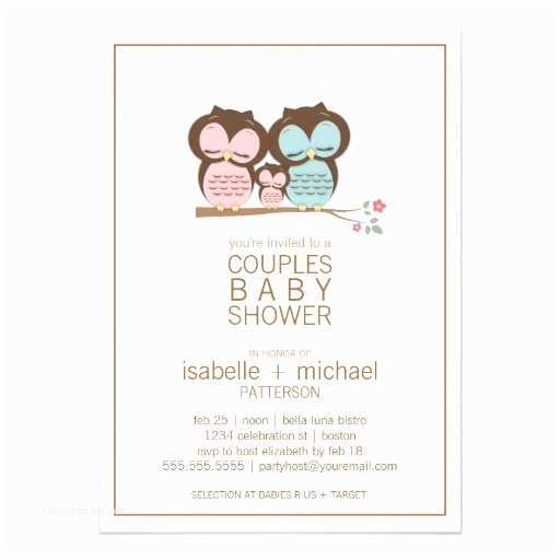 """Couple Baby Shower Invitations Cute Owl Family Couples Baby Shower Invitation 5"""" X 7"""