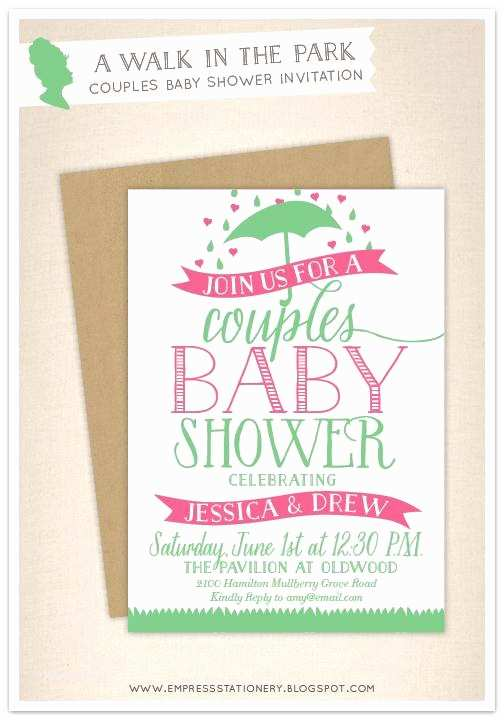 Couple Baby Shower Invitations Empress Stationery A Walk In the Park Couples Baby Shower