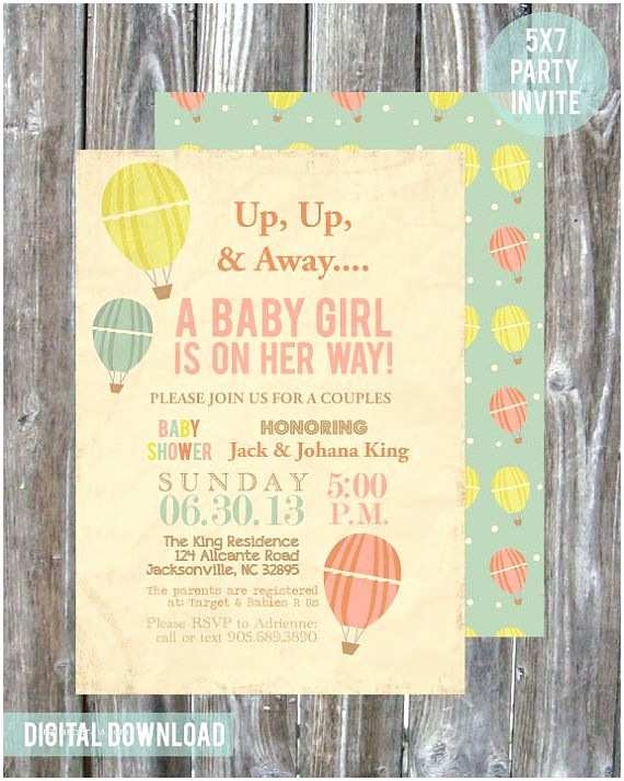 Couple Baby Shower Invitations Hot Air Balloon Couples Baby Shower Invitation Digital