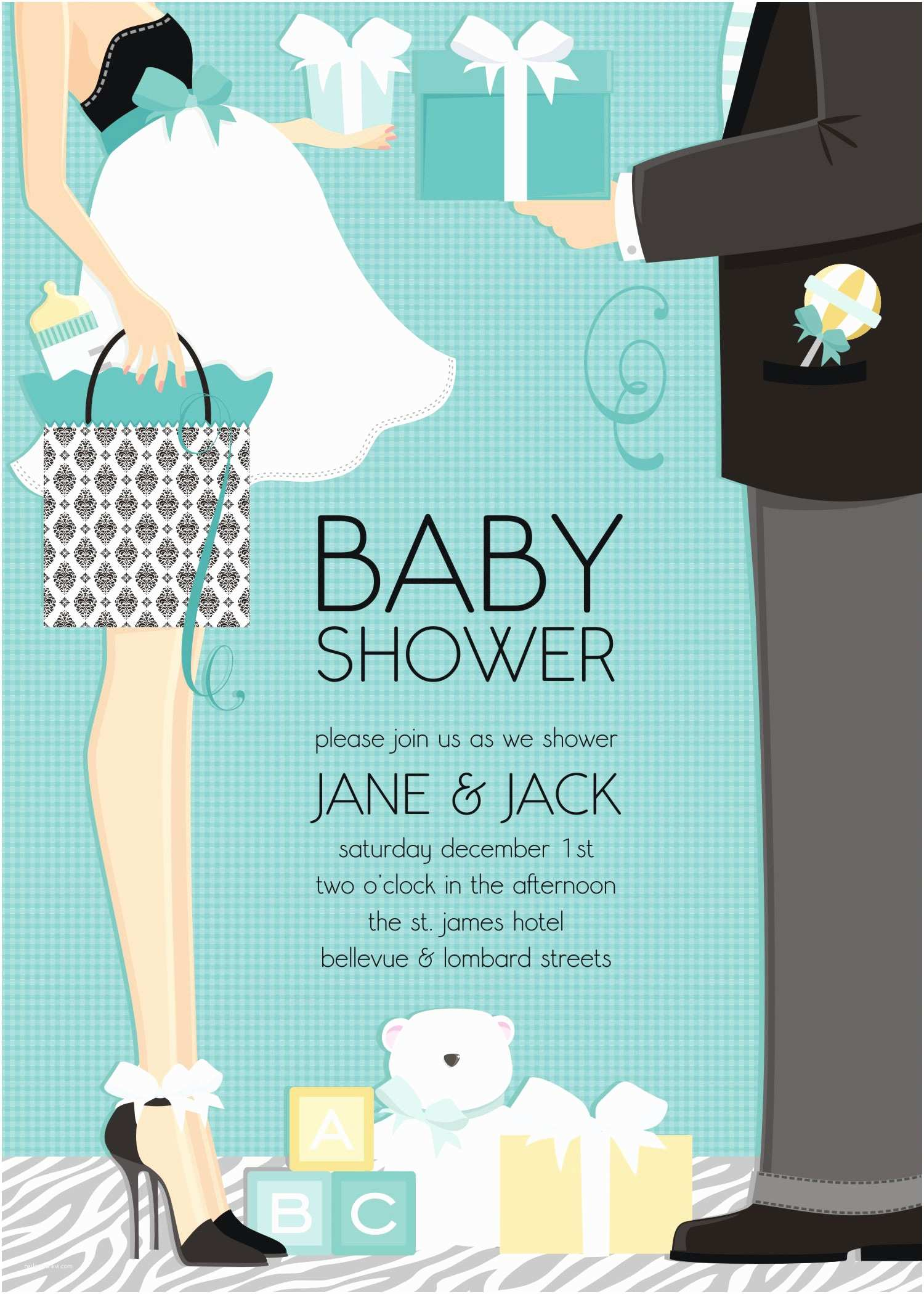 "Couple Baby Shower Invitations Quick View Dm In 287 ""classic Couple Baby Shower"