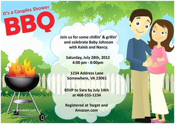 Couples Baby Shower Invitation Wording Couples Baby Shower Bbq
