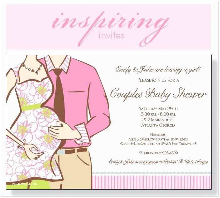 Couples Baby Shower Invitation Wording Couples Baby Shower Expecting Girl Invitation
