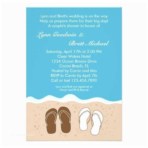 "Couples Bridal Shower Invitations Flip Flops Couple S Bridal Shower Invitation 5"" X 7"
