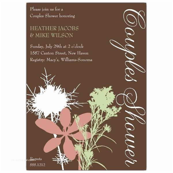 Couples Bridal Shower Invitations Floral and Brown Couples Shower Invitations