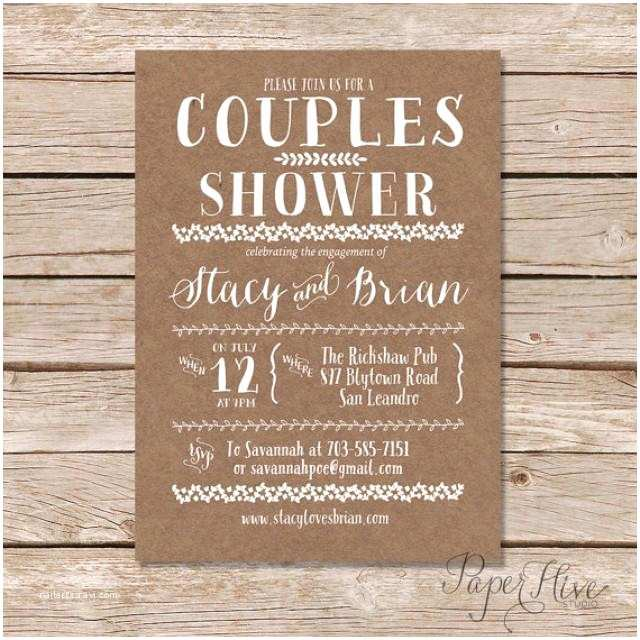 Couples Wedding Shower Invitations Couples Shower Invitation Kraft