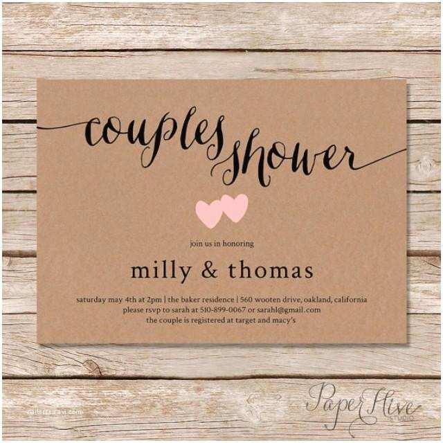 Couples Wedding Shower Invitations Rustic Couples Shower Invitation Kraft Couples Wedding