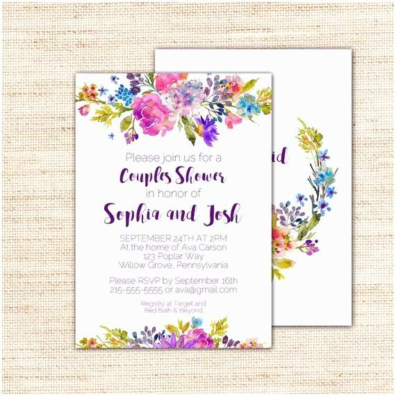 Couples Wedding Shower Invitations Templates Free Garden Couples Bridal Shower Invitation Template Purple