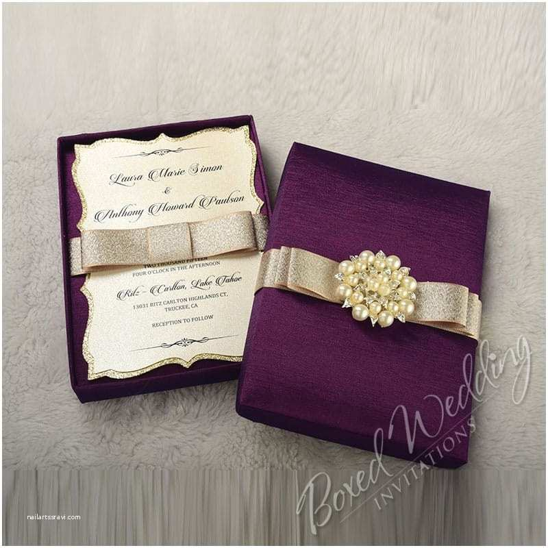 Couture Wedding Invitations Couture Wedding Invitation Box with Pearl Brooch
