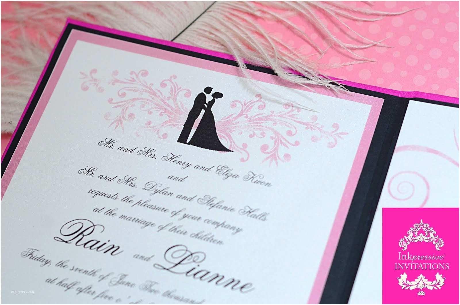 Couture Wedding Invitations Hardbound Wedding Invitation Pink Black