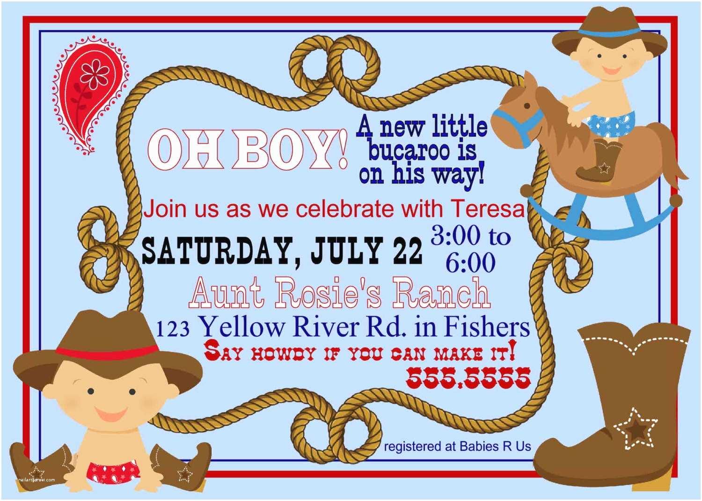 Cowboy Baby Shower Invitations Digital Lil Bucaroo Cowboy Baby Shower by Spencervillejunction