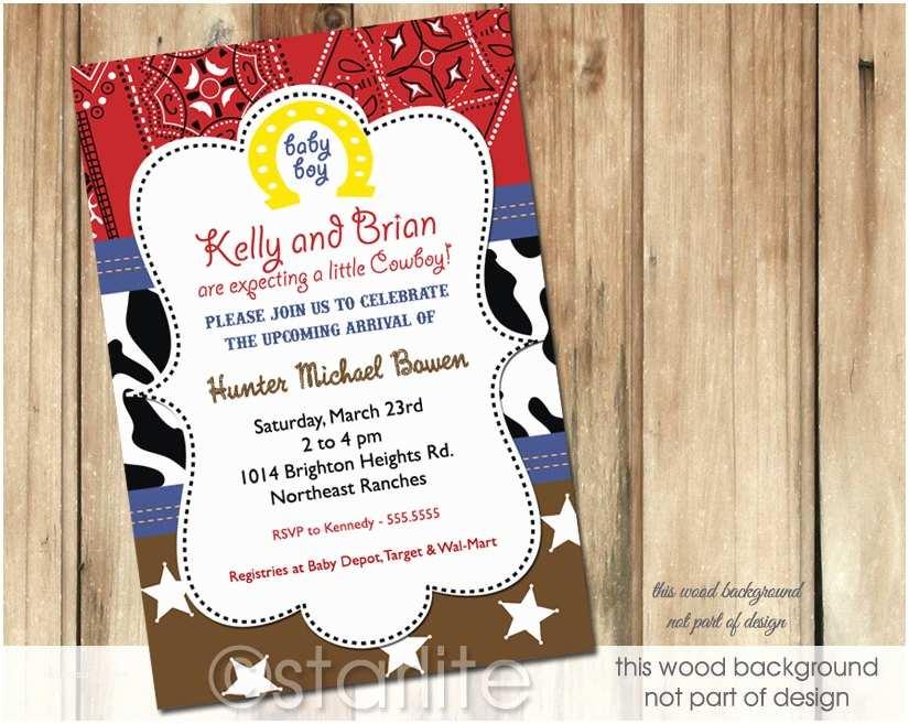 Cowboy Baby Shower Invitations Starlite Printables Invitations Stationery Cowboy