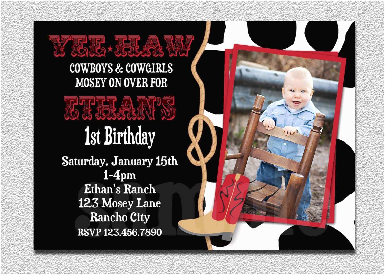 Cowboy Birthday Invitations Cowboy Birthday Invitation Cowboy 1st Birthday Party