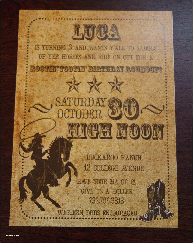 Cowboy Birthday Invitations Vintage Inspired Cowboy Invitations Old West Birthday Party
