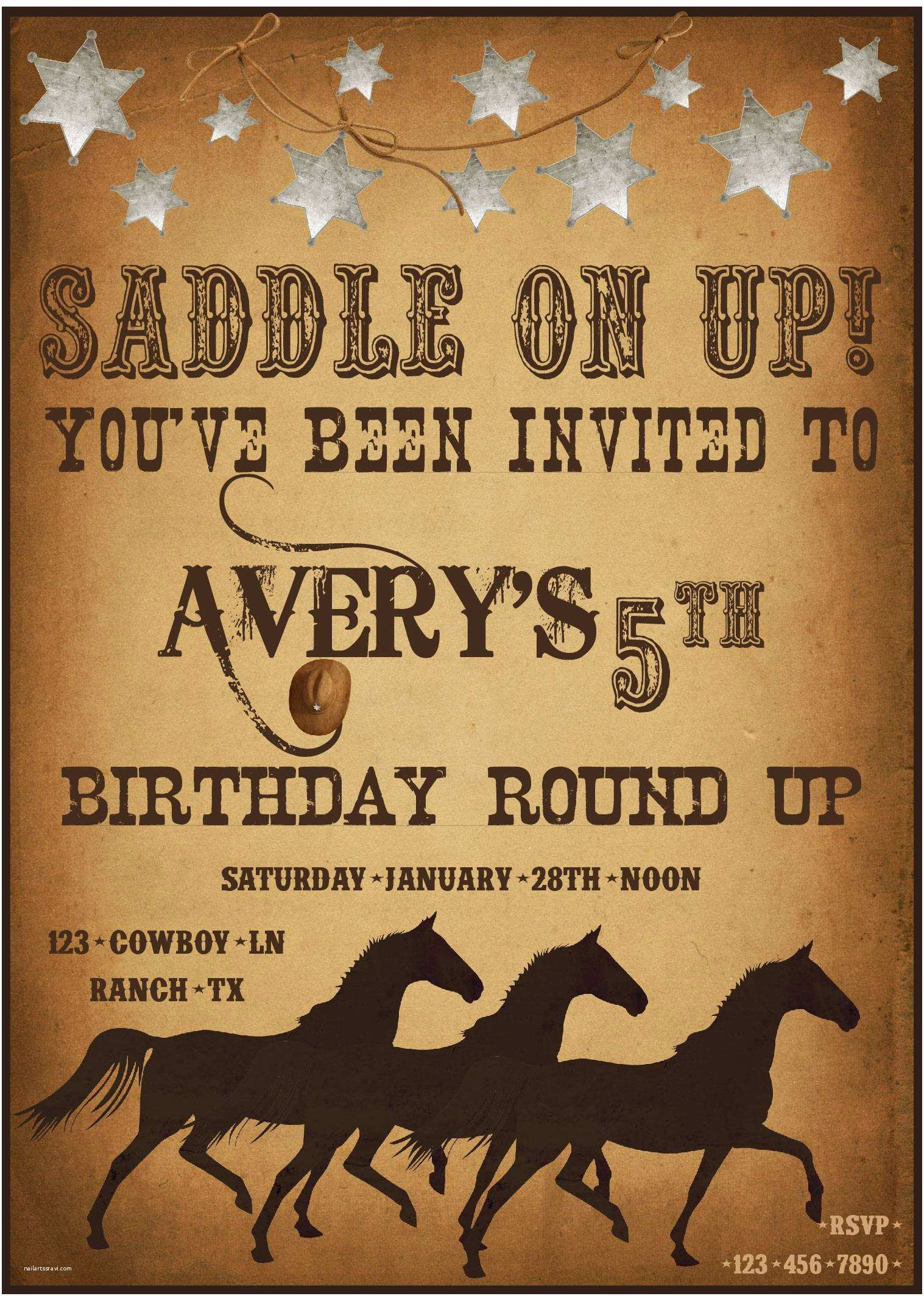 Cowboy Birthday Invitations Western Party