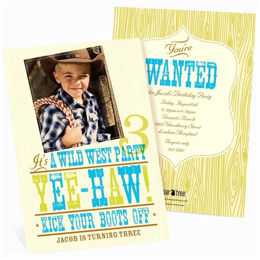Cowboy Birthday Invitations Yee Haw Western Birthday Invitations In Blue