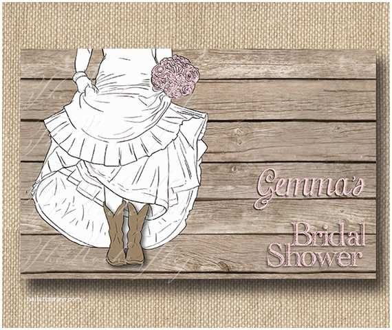 Cowboy Boot Wedding Invitations Bride In Boots Bridal Shower Invitations or by therocheshop