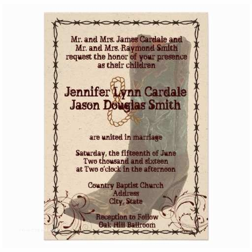 "Cowboy Boot Wedding Invitations Country Cowboy Boots Barbed Wire Wedding Invites 4 5"" X 6"