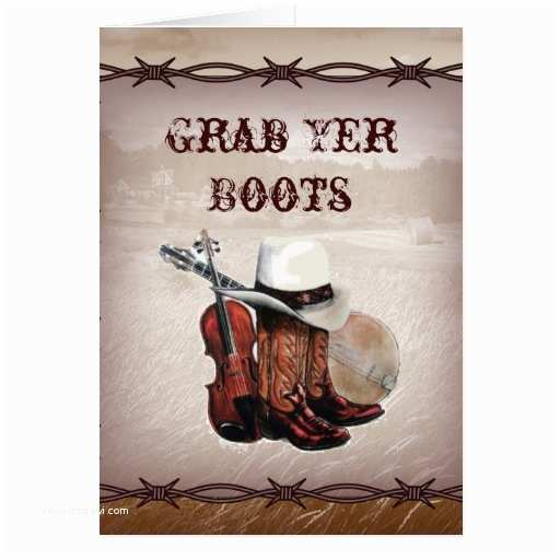 Cowboy Boot Wedding Invitations Country Cowboy Boots Farm Wedding Invitation Greeting Card