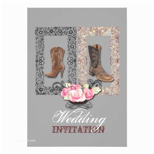 "Cowboy Boot Wedding Invitations Country Cowboy Boots Western Wedding Invitation 5"" X 7"