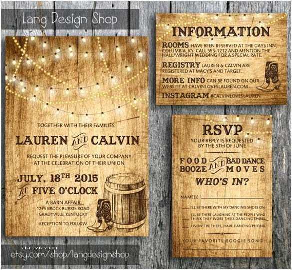 Cowboy Boot Wedding Invitations Country Wedding Invitation 15 Psd Indesign formats