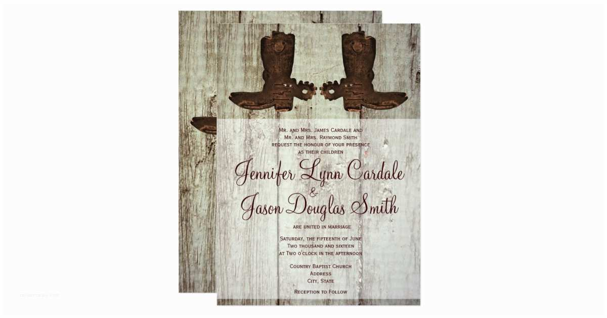 Cowboy Boot Wedding Invitations Country Western Cowboy Boots Wedding Invitations
