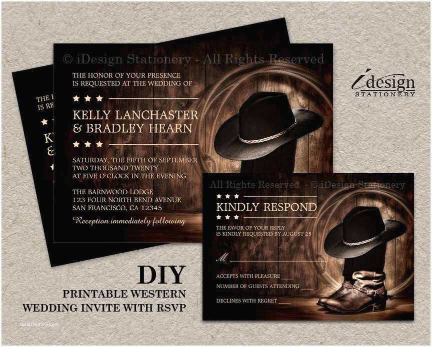 Cowboy Boot Wedding Invitations Country Western Wedding Invitation Set with Cowboy Boots Diy
