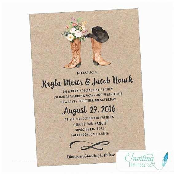 Cowboy Boot Wedding Invitations Cowboy Boot Rustic Wedding Invitation Country Wedding