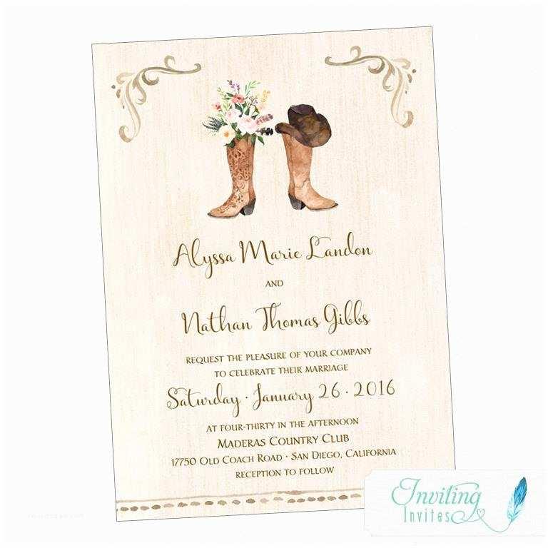 Cowboy Boot Wedding Invitations Cowboy Boot Wedding Invitation Rustic Wedding Country