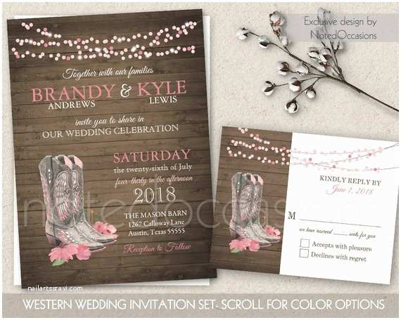 Cowboy Boot Wedding Invitations Printable Country Western Wedding Invitations by