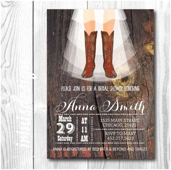 Cowboy Boot Wedding Invitations Rustic Country Cowboy Boots Shabby Chic Bridal by