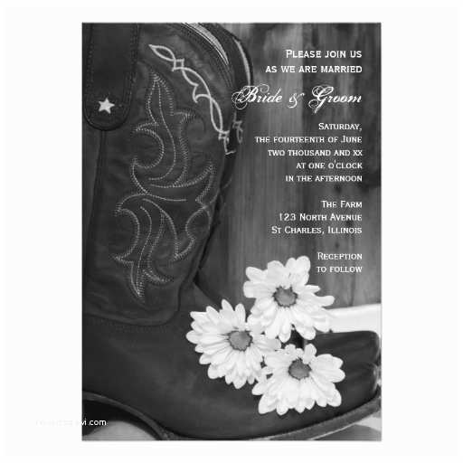 Cowboy Boot Wedding Invitations Rustic Cowboy Boots and Daisies Country Wedding 5x7 Paper