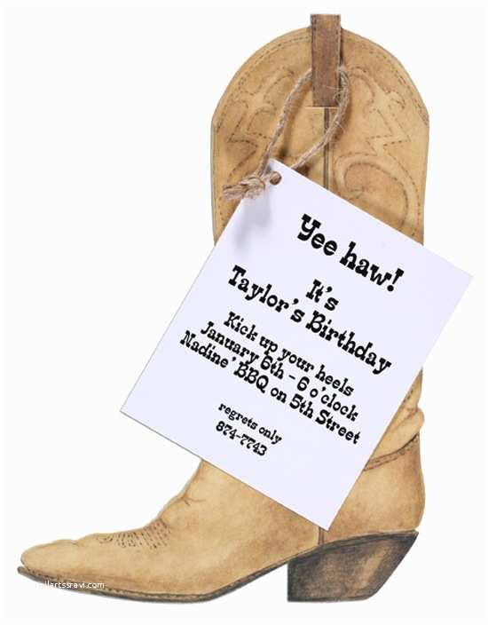Cowboy Boot Wedding Invitations Sarah Leclere Cowboy Boot Party Invitation Western