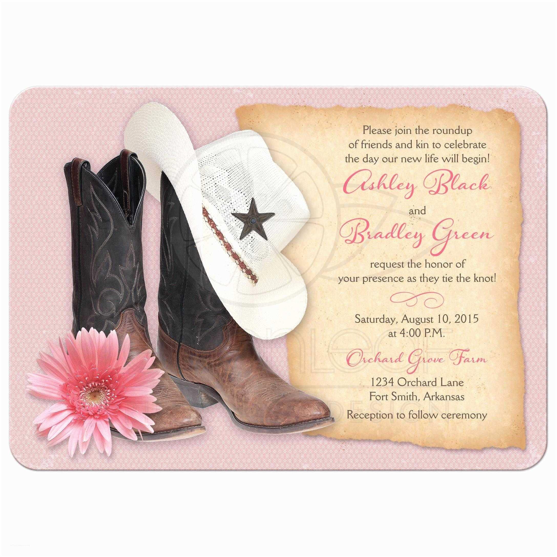 Cowboy Boot Wedding Invitations Western Wedding Invitations Cowboy Boots Hat Pink Daisy