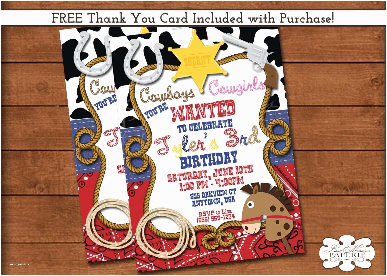 Cowboy Party Invitations Cowboy Birthday Invitation Sheriff Birthday Party Invitation