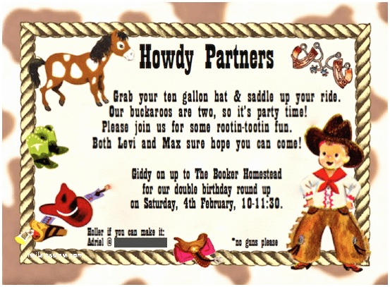 Cowboy Party Invitations Kids Cowboy Birthday Party