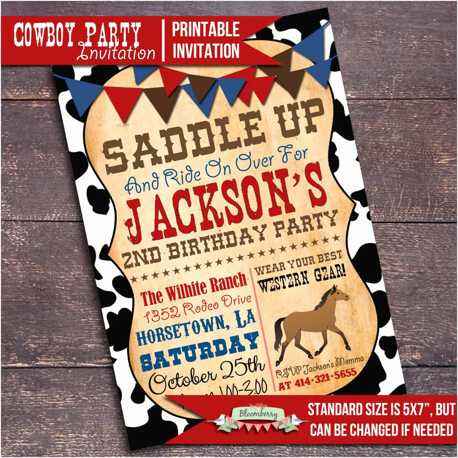 Cowboy Party Invitations Printable Cowboy Party Invitation Western by Bloomberrydesigns