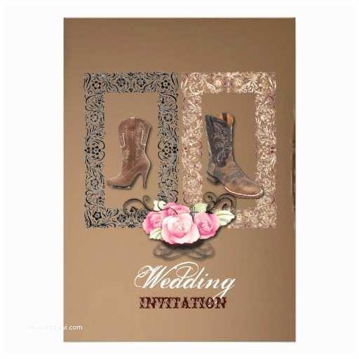 "Cowboy Wedding Invitations Templates Country Cowboy Boots Western Wedding Invitation 5"" X 7"