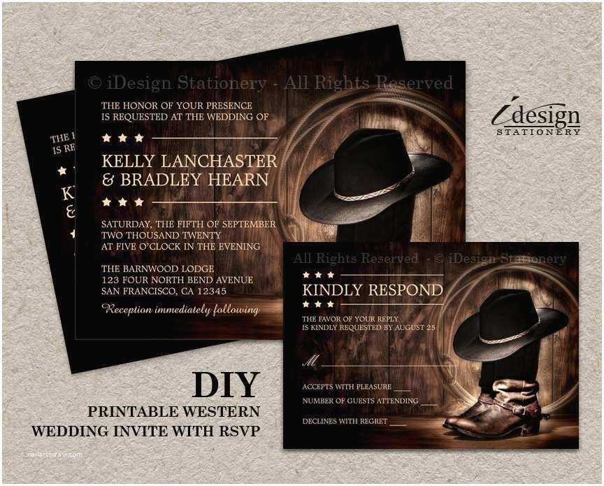 Cowboy Wedding Invitations Templates Country Western Wedding Invitation Set with Cowboy Boots Diy