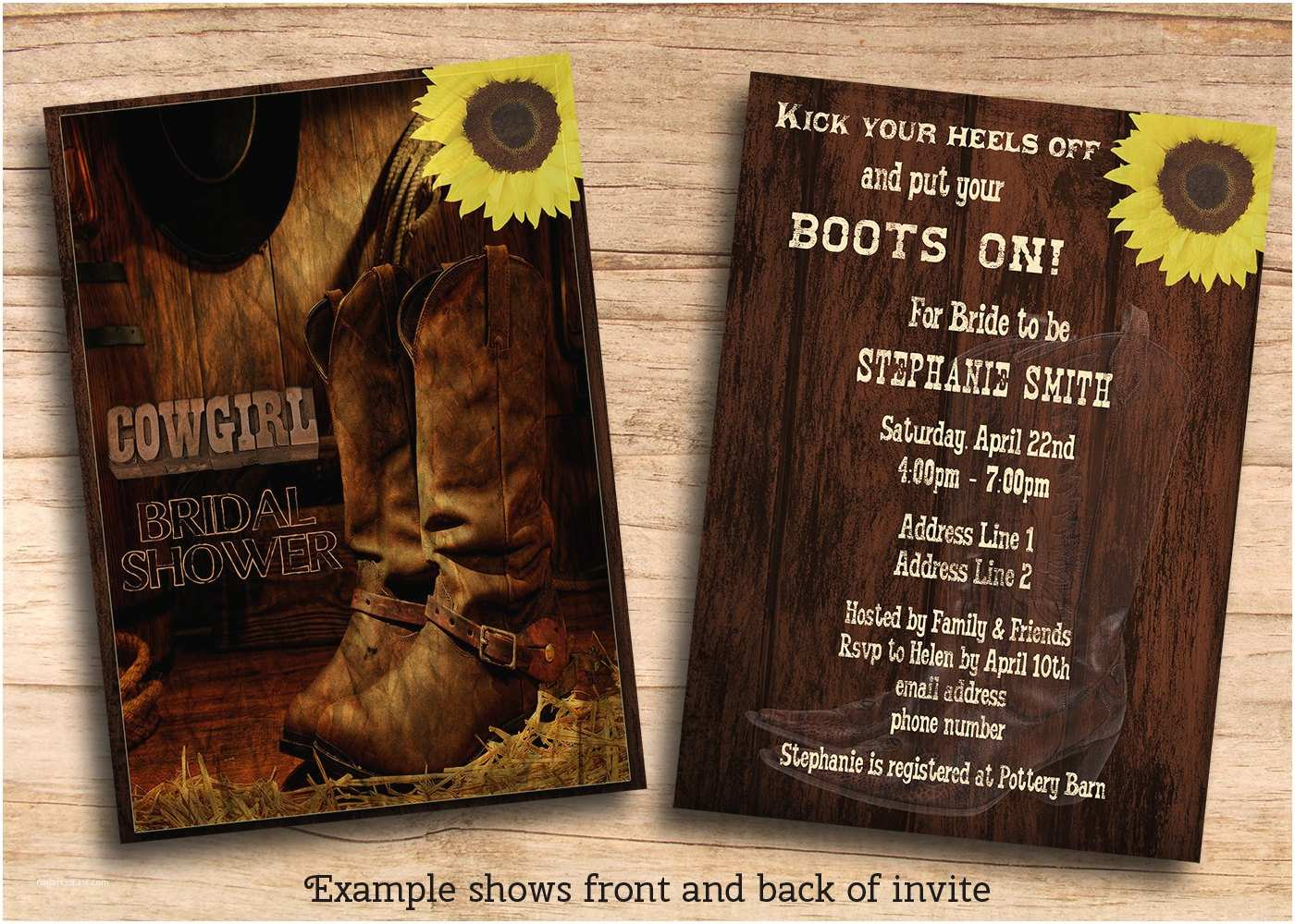 Cowboy Wedding Invitations Templates Printable Rustic Country Western Cowgirl Bridal Shower Invites