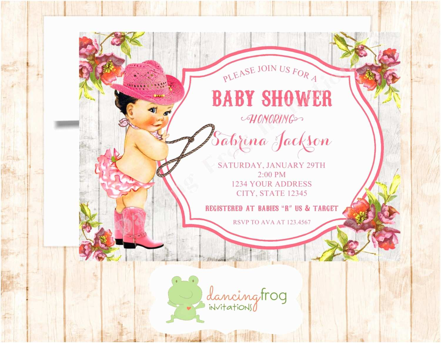 Cowgirl Baby Shower Invitations Baby Shower Ideas with Pink Corner Flower Pattern Vintage