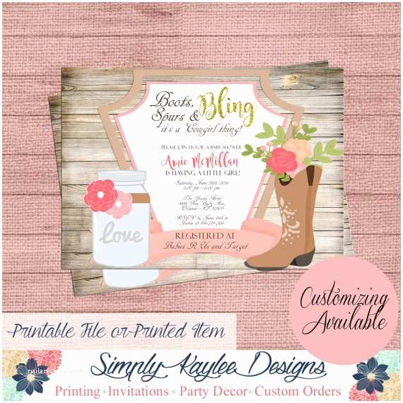 Cowgirl Baby Shower Invitations Cowgirl Baby Shower Invitation Rustic Baby by
