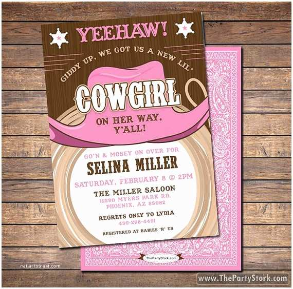 Cowgirl Baby Shower Invitations Cowgirl Baby Shower Invitations Printable Shower or