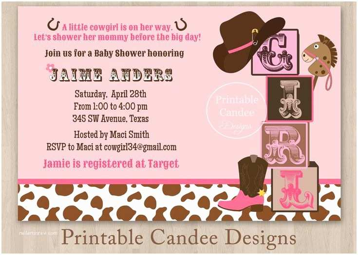 Cowgirl Baby Shower Invitations Little Cowgirl Baby Shower Invitation Diy Custom Printable