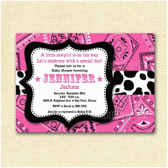 Cowgirl Baby Shower Invitations Western Baby Shower