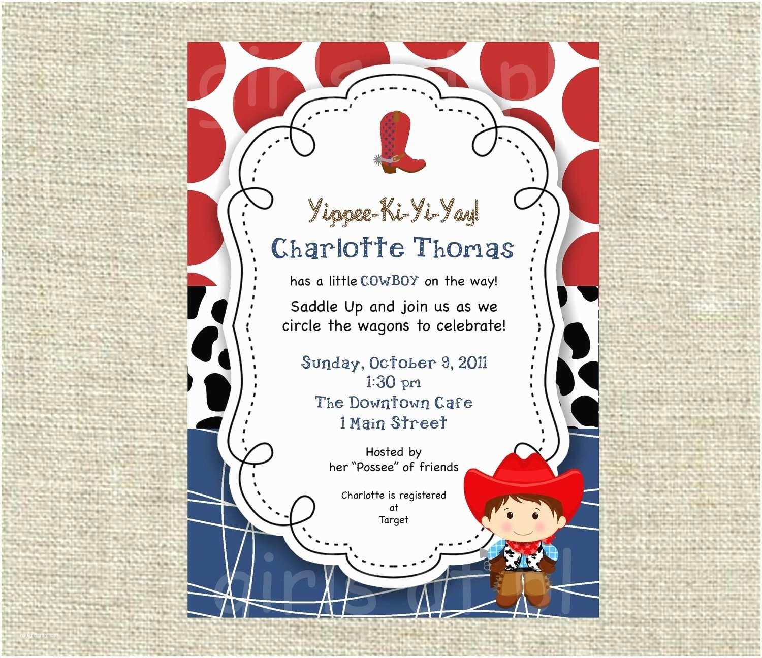 Cow Baby Shower Invitations Western