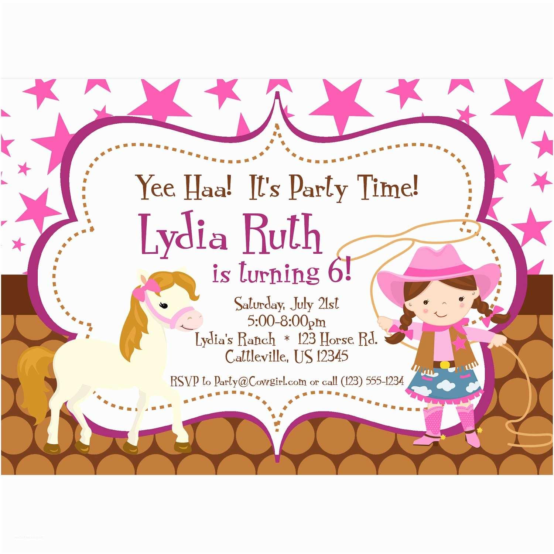 Cowgirl Birthday Invitations Cowgirl Invitation Pink Stars and Brown Polka Dot Girl