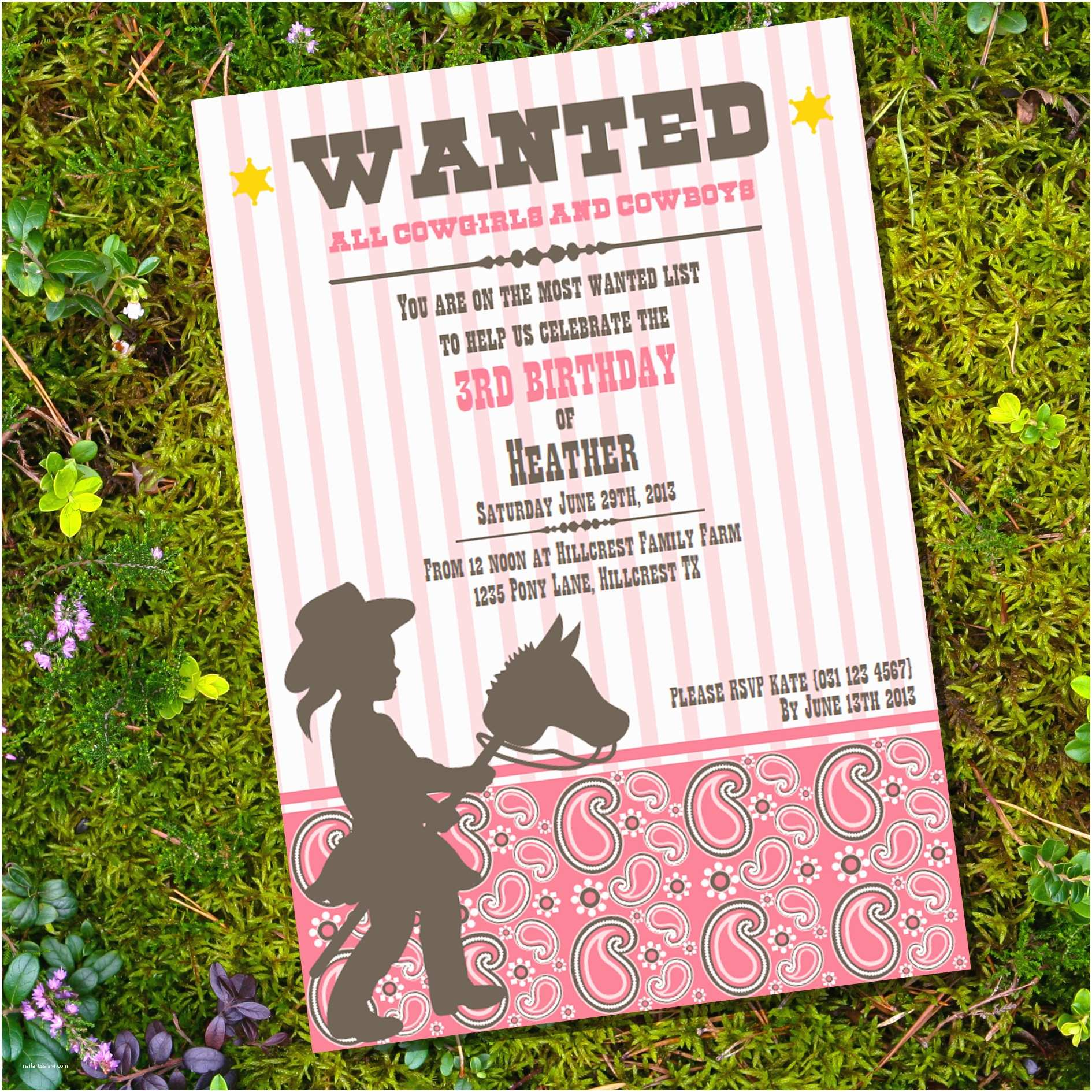 Cowgirl Birthday Invitations Cowgirl Party Invitations – Gangcraft