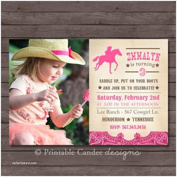 Cowgirl Birthday Invitations Vintage Cowgirl Birthday Invitation Diy Custom Printable
