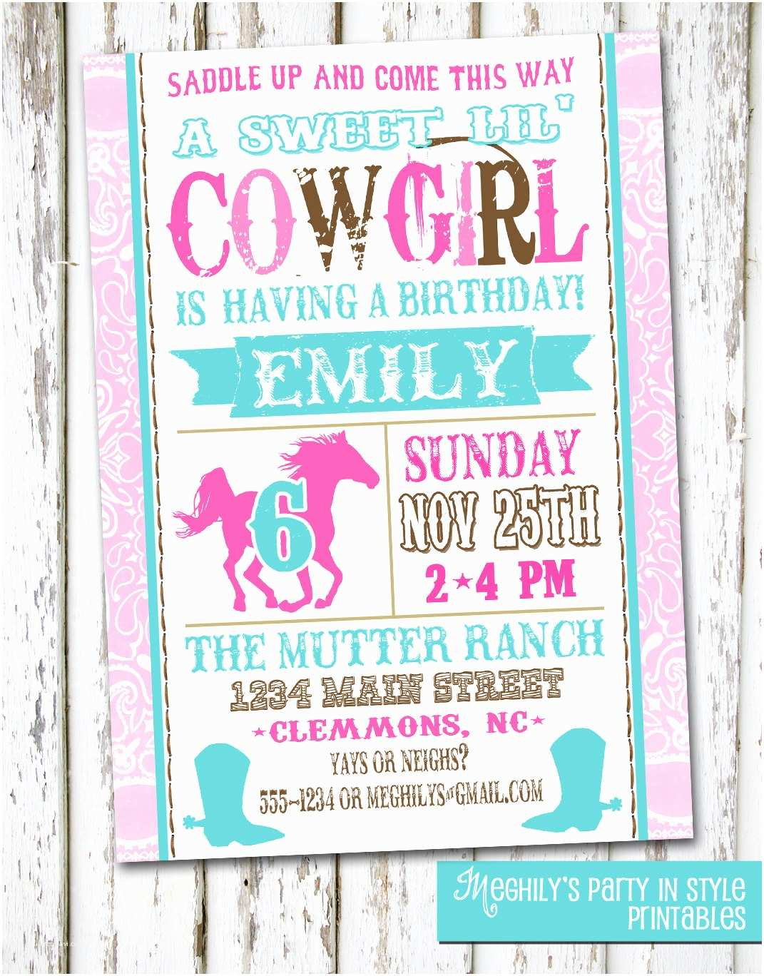 Cowgirl Birthday Invitations Western Cowgirl Birthday Invitation