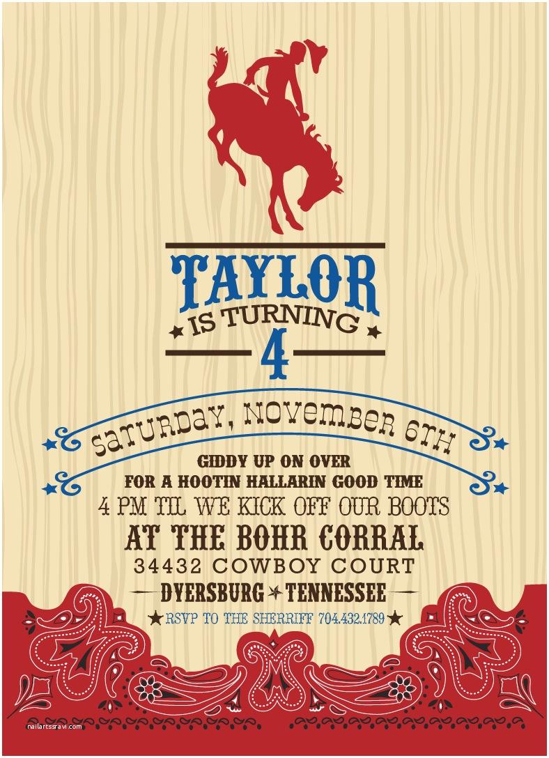 Cowgirl Party Invitations Cowboy Invitation Template Invitation Template